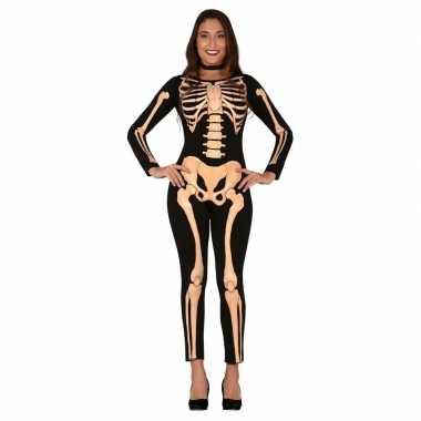 Halloween skelet verkleed morphsuit dames kopen