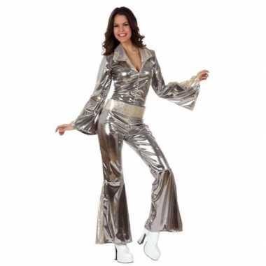 Zilveren disco morphsuit dames kopen