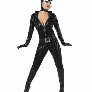 Zwart catwoman morphsuit lederlook kopen