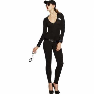 Zwart FBI morphsuit dames kopen
