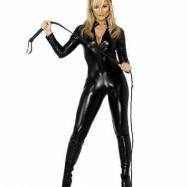 Zwarte catsuits lederlook dames morphsuit kopen